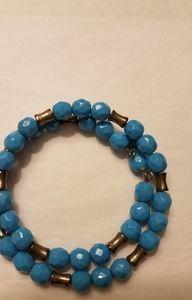 BLUE STONE & SILVER WRAP BRACELET